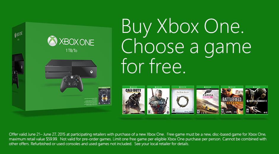 Xbone get one game free promo